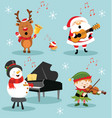 christmas music set vector image vector image