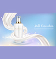 cosmetic banner with white bottle in milk vector image vector image