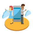 couple and chat vector image