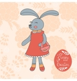 Cute Easter card with hand drawn bunny vector image vector image