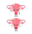 cute sad unhealthy sick and strong healthy uterus vector image vector image