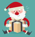 Cute Santa Sitting and Holding a Present vector image