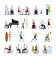 Disabled People Flat Icons Set vector image vector image