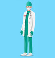 doctor in white coat with stethoscope vector image vector image