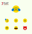 flat icon gesture set of tears cross-eyed face vector image vector image