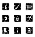 Gardening icons set grunge style vector image vector image