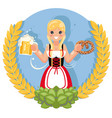 girl with beer mug pretzel oktoberfest poster vector image