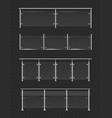 glass handrail set realistic 3d glossy balustrade vector image vector image