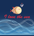 graphic poster with fish and sea waves vector image