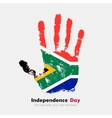 Handprint with the Flag of South Africa in grunge vector image