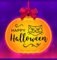 happy halloween card pumpkin tag and bright vector image