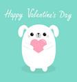 happy valentines day white badog puppy head vector image vector image