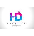 hd h d letter logo with shattered broken blue vector image vector image