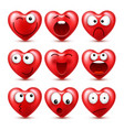 heart smiley emoji set for valentines day vector image