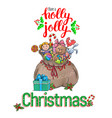 holly jolly greeting card vector image vector image