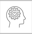 human head with cogwheels inside linear icon vector image vector image
