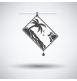 Icon of photograph drying on rope vector image