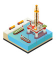 isometric water oil platform concept vector image vector image