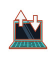 laptop with arrows icon vector image vector image