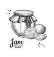 lemon jam glass jar drawing fruit jell vector image vector image