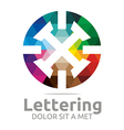 lettering x rainbow alphabet design vector image