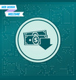 money cash icon on a green background with arrows vector image vector image