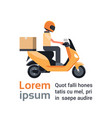 motorcycle delivery service man courier riding vector image