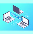 office laptops - modern colorful isometric vector image vector image