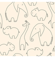 One line african animals seamless pattern vector image vector image