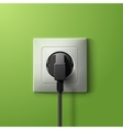 Realistic electric plastic white socket and black vector image