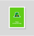 saint patricks day greeting card with green hat vector image