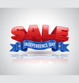 sale 3d text with blue ribbon for promotion on vector image