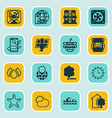Set of 16 eco icons includes sun clock house vector image