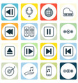 set of 16 music icons includes dance club rewind vector image vector image