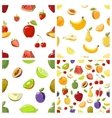 Set of fruits seamless patterns vector image