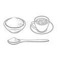 sketch mathca tea set vector image vector image