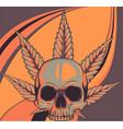 skull with leaves marijuana head vector image