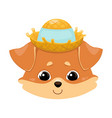 smiling dog head in a straw hat color image of a vector image