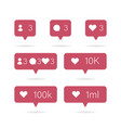 social icon media set icons pack comment follow vector image vector image