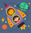 space lion and monkey in rocket