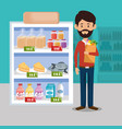 supermarket groceries in shelving and customer vector image