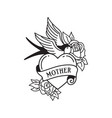 swallow and roses tattoo with wording mother vector image vector image