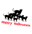 Three Evil Cat with Word Happy Halloween vector image