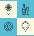 tourism icons set collection of wine currency vector image vector image