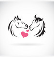 Two horse and heart on white background wild
