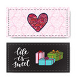 valentines day banners with gifts and modern vector image vector image