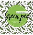 vegetable seamless pattern green pea pods farm vector image vector image