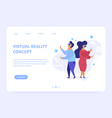 virtual reality landing page concept vector image vector image
