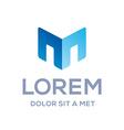 Letter M cube real estate sign logo icon design vector image