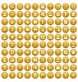 100 beauty salon icons set gold vector image vector image
